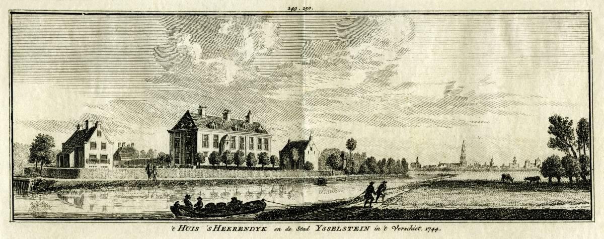 Huis `s Heerendijk in IJsselstein. Tekening Jan de Beijer, gravure Hendrik Spilman(Uit: Het Verheerlykt Nederland, Isaac Tirion, 1745/1774)